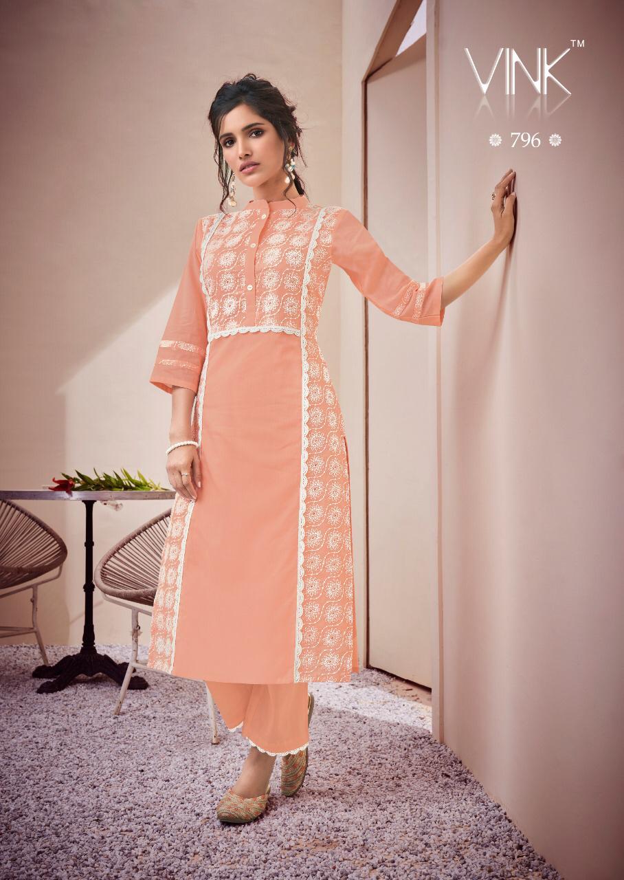 Lucknowi Kurti Cotton TH-Bright Orange Color size-46-48