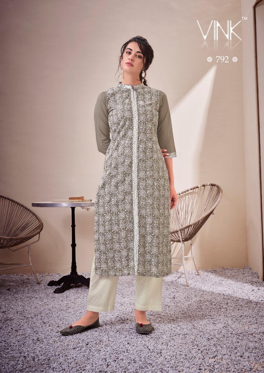 vink lucknowi kurtis with pants wholesale catalog   Aarvee